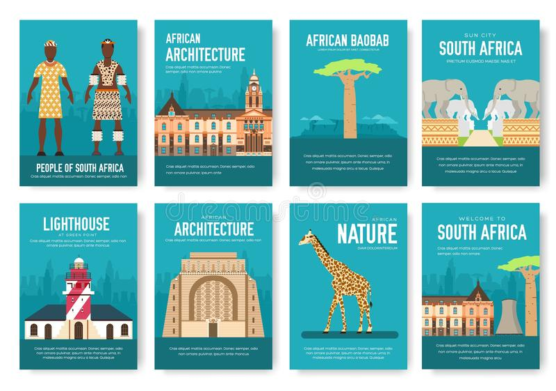 套南非国家装饰品旅行旅行概念 传统的艺术,杂志,书,海报,摘要,横幅,元素 库存例证