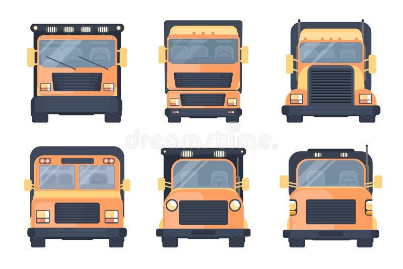 套卡车卡车的各种各样的类型 快速的运输物品的车 后勤学送货业务 库存例证