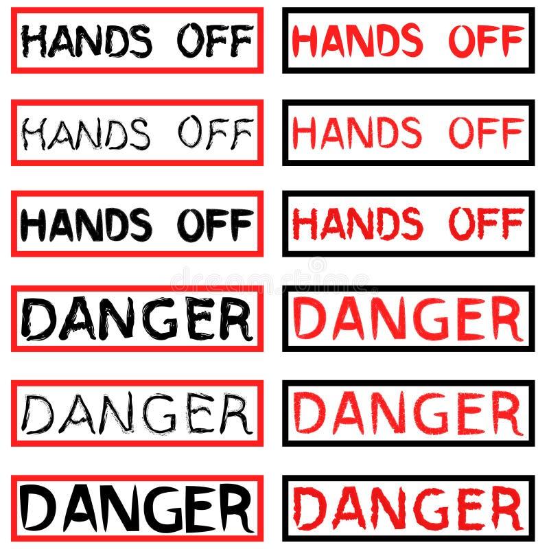 套危险和手题字 向量例证