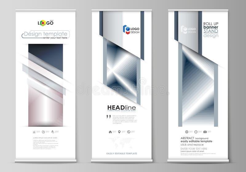 套卷起横幅立场,平的设计模板,企业概念,公司垂直的传染媒介飞行物,旗子布局 向量例证