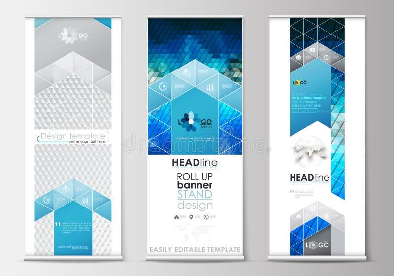 套卷起横幅立场,平的设计模板,几何样式,企业概念,公司垂直的飞行物 库存例证