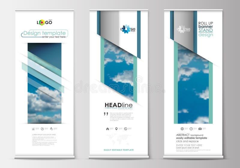 套卷起横幅立场,蓝色平的设计模板,摘要几何样式,现代企业概念,公司 库存例证