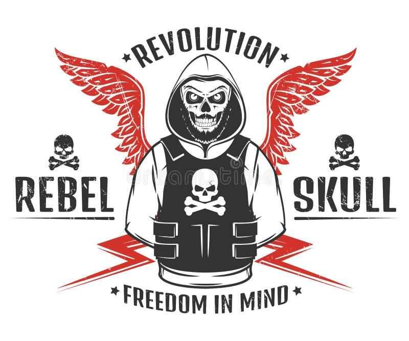 套反叛头骨和革命最基本的黑白印刷品T恤杉的 向量例证
