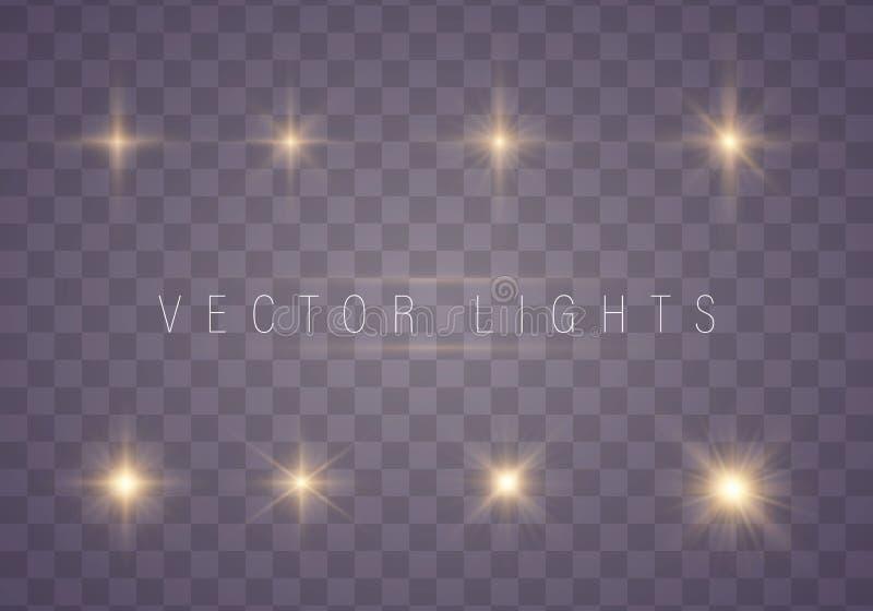 套发光的星 向量例证