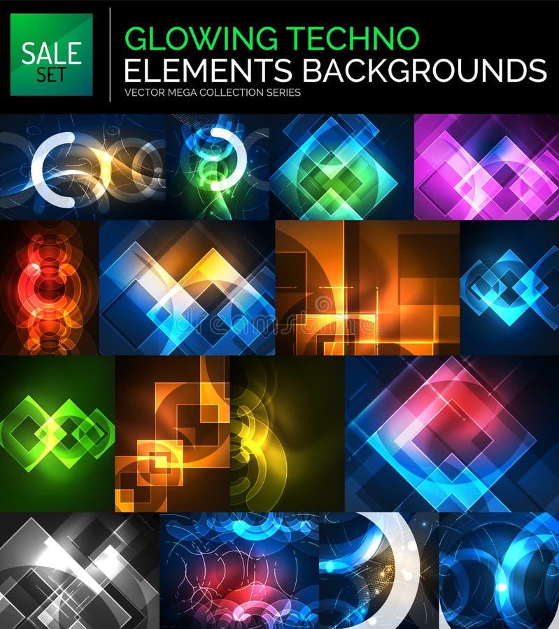 套发光的霓虹techno塑造,抽象背景收藏 向量例证