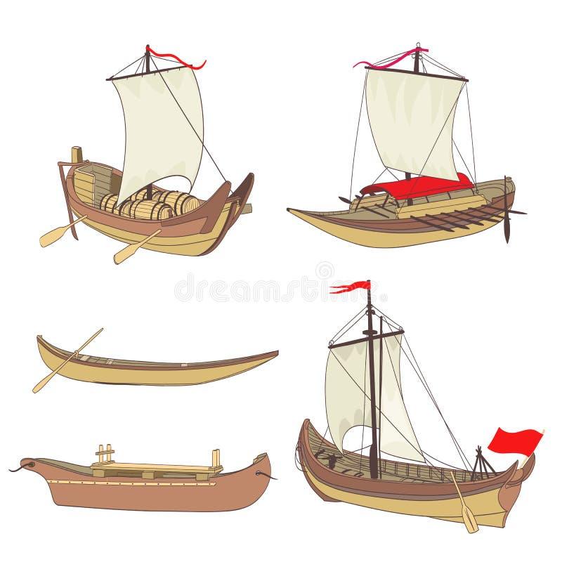 套古老船 向量例证