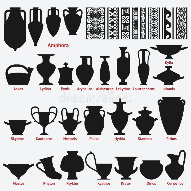 套古色古香的希腊花瓶和边界装饰无缝的样式 库存例证