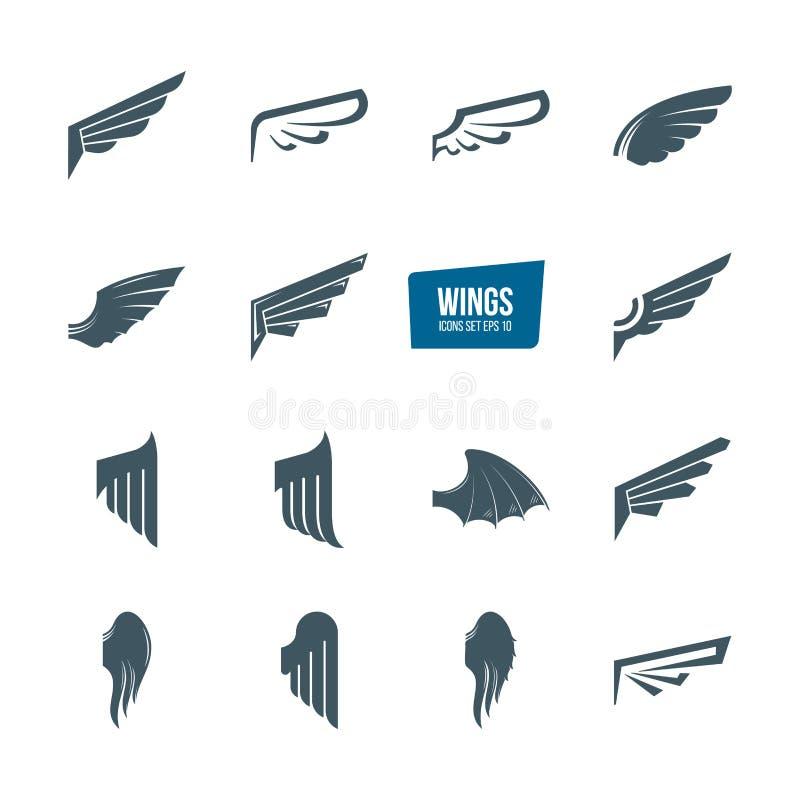 套另外翼商标集合 象征羽毛翼鸟 库存例证