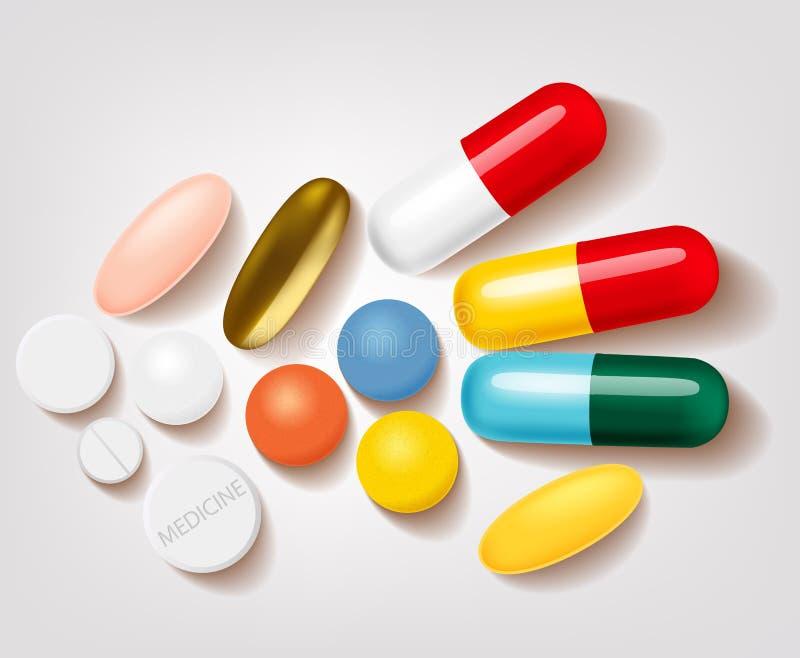 套另外药片和胶囊药房 向量例证