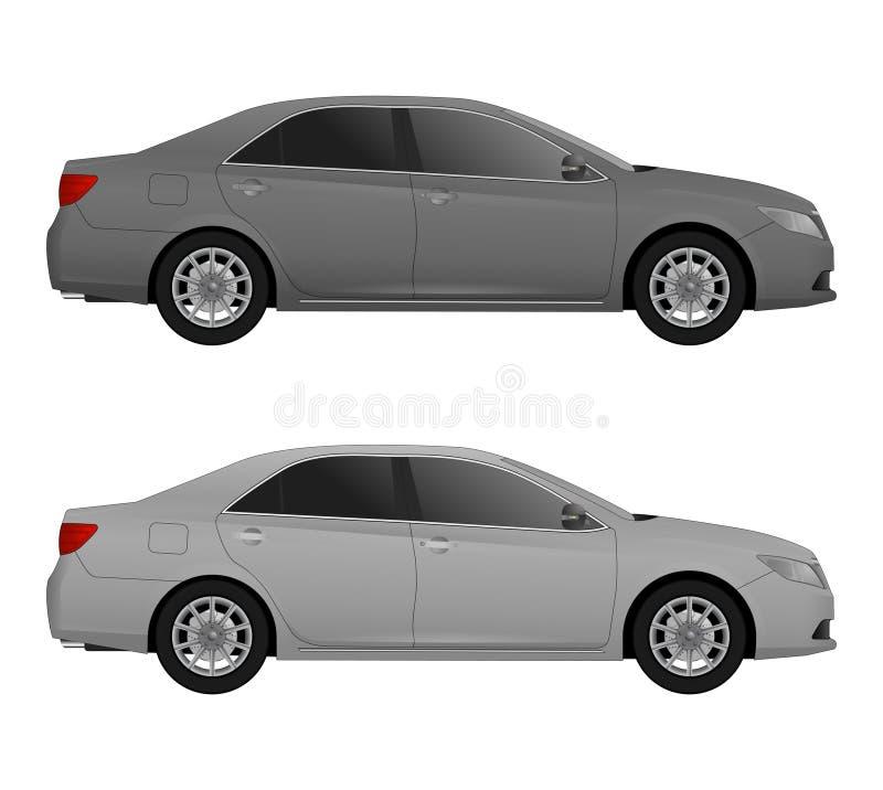 套另外颜色汽车,现实汽车塑造 向量例证
