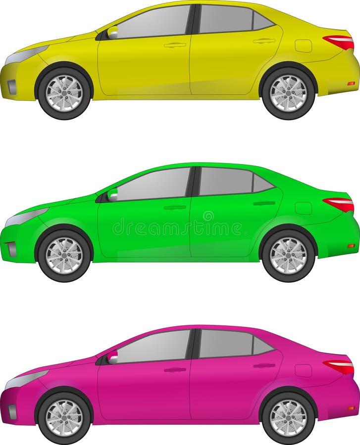 套另外颜色汽车,现实汽车塑造 库存例证