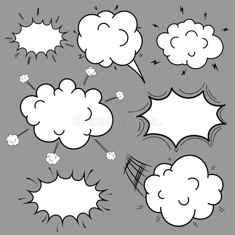 套可笑的讲话起泡动画片,在流行艺术样式的空的对话云彩 皇族释放例证