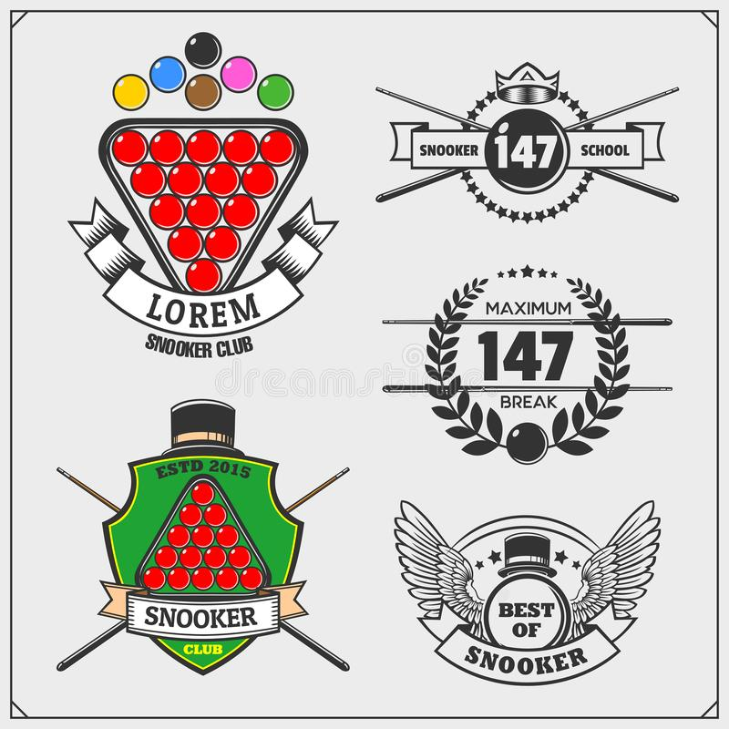 套台球标签、象征、徽章、象和设计元素 库存例证