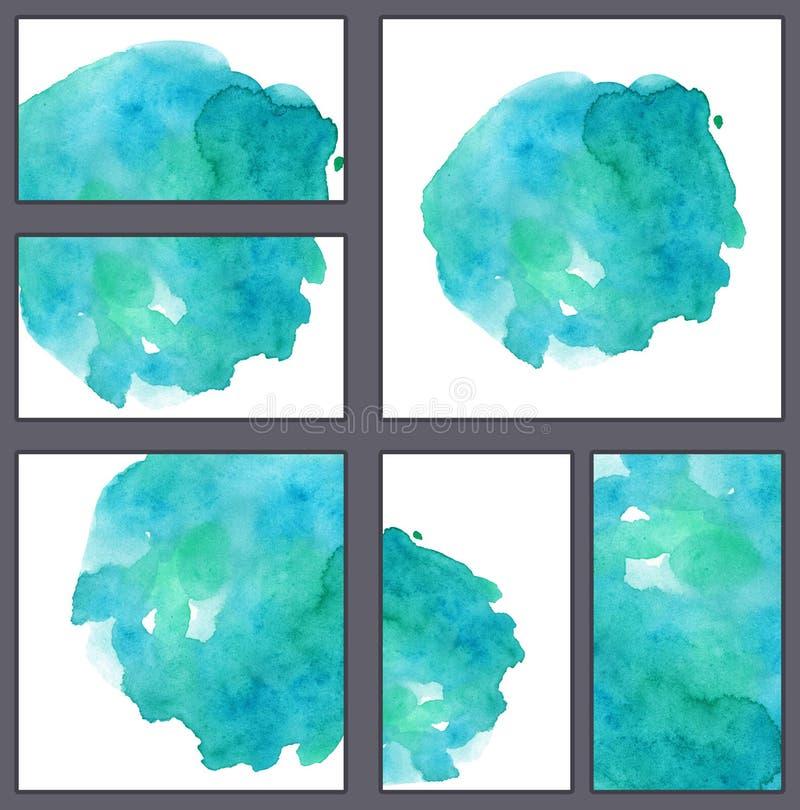 套各种各样的名片、切面图模板-天蓝色-与滴水的蓝色水彩斑点和梯度 向量例证