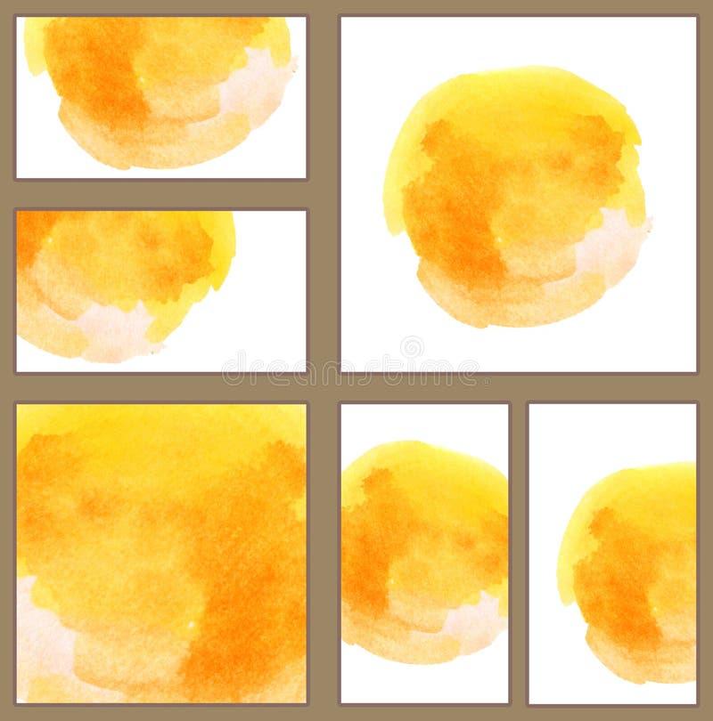 套各种各样的名片,切面图模板-晴朗的黄色水彩手画圈子 向量例证