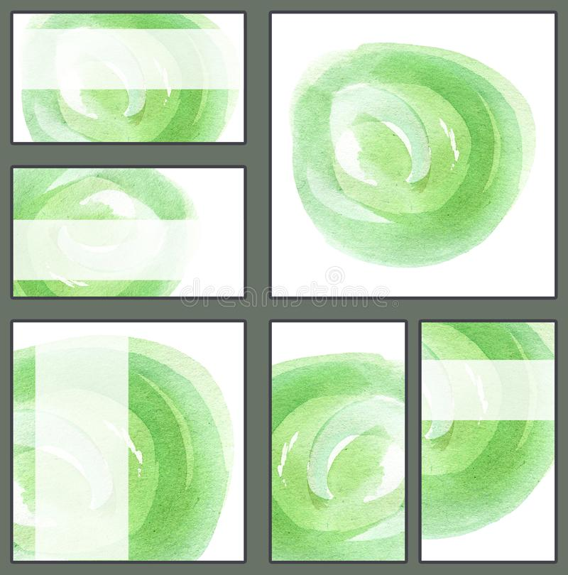 套各种各样的名片,切面图模板-浅绿色的圈子,手拉的水彩, minimalistic背景 库存例证
