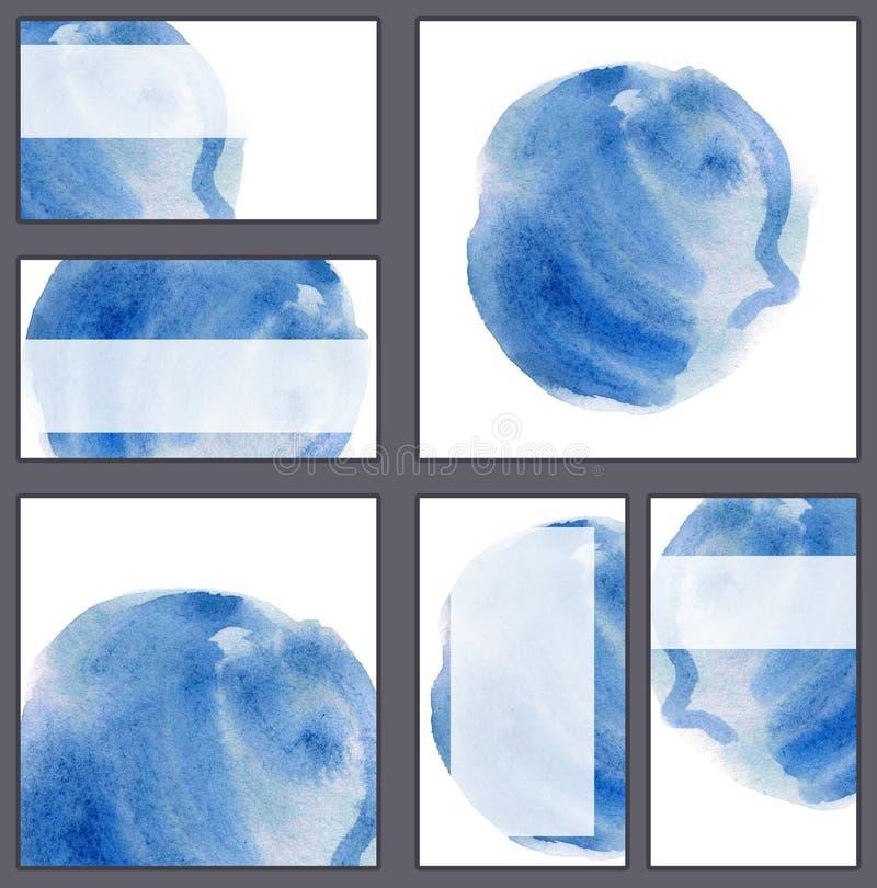 套各种各样的名片,切面图模板-蓝色waterco 皇族释放例证