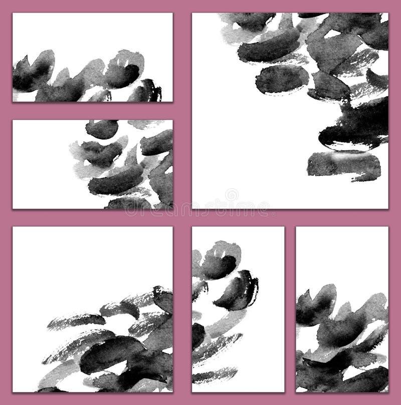 套各种各样的名片,切面图-抽象黑白水彩minimalistic例证 皇族释放例证