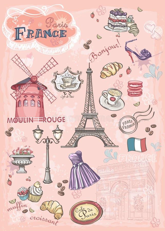 套各种各样的吸引力的图象,巴黎,法国 库存例证