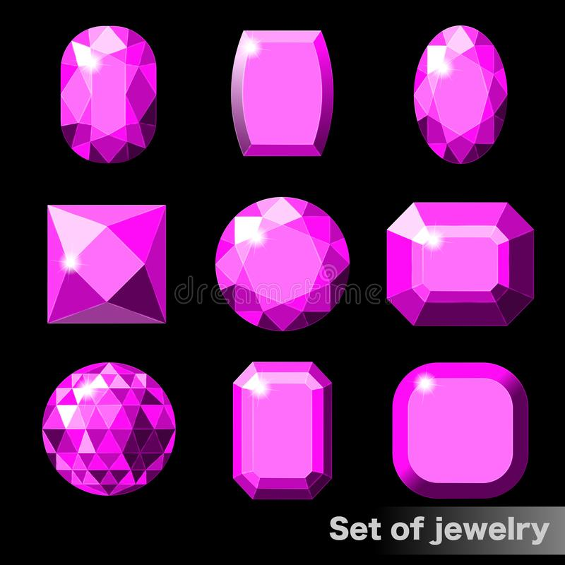 套各种各样的形状紫色宝石紫晶  皇族释放例证