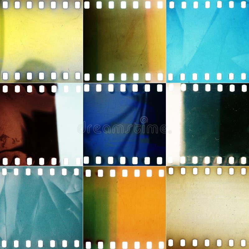 套各种各样的成颗粒状的穿孔的影片纹理 免版税库存图片