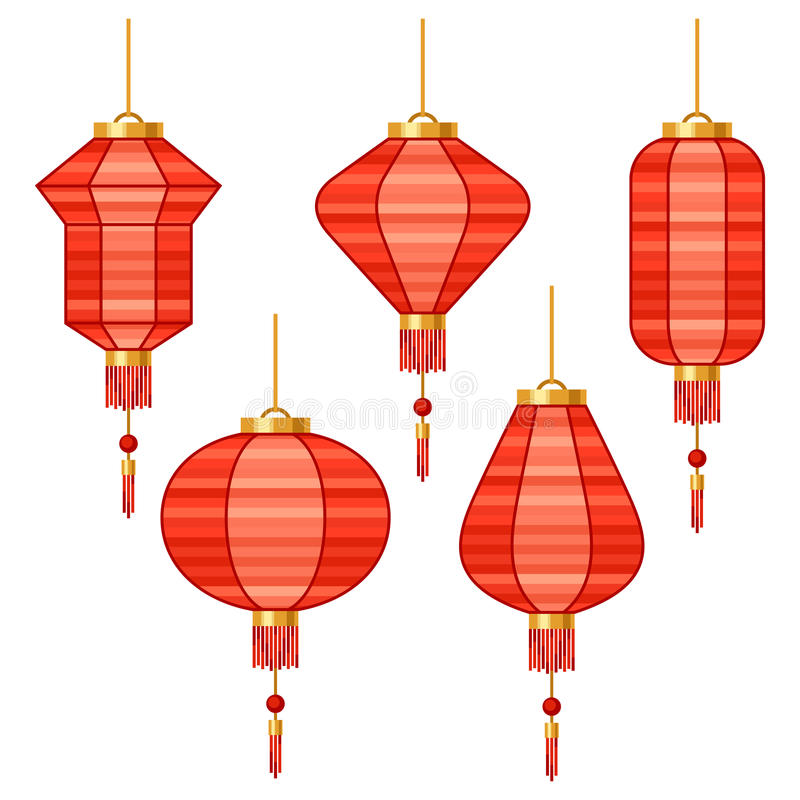 套各种各样的抽象红色中国灯笼 皇族释放例证