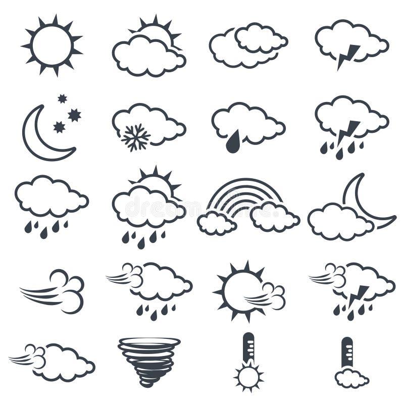 套各种各样的深灰天气符号,展望,线设计的元素 库存例证