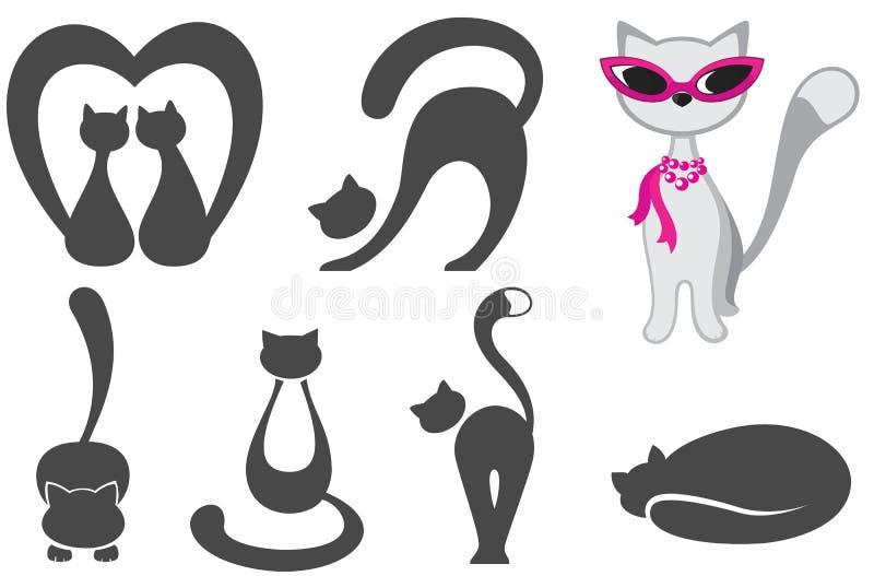 套各种各样的猫 皇族释放例证