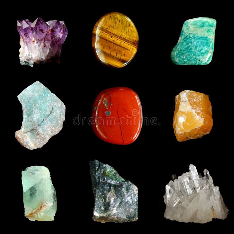 套各种各样的矿物岩石和石头 免版税库存照片