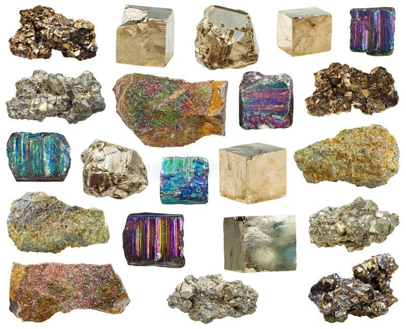 套各种各样的硫铁矿矿物水晶,石头 库存图片