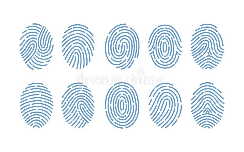 套各种各样的类型指纹在白色背景的 人的手指摩擦土坎踪影  方法  向量例证