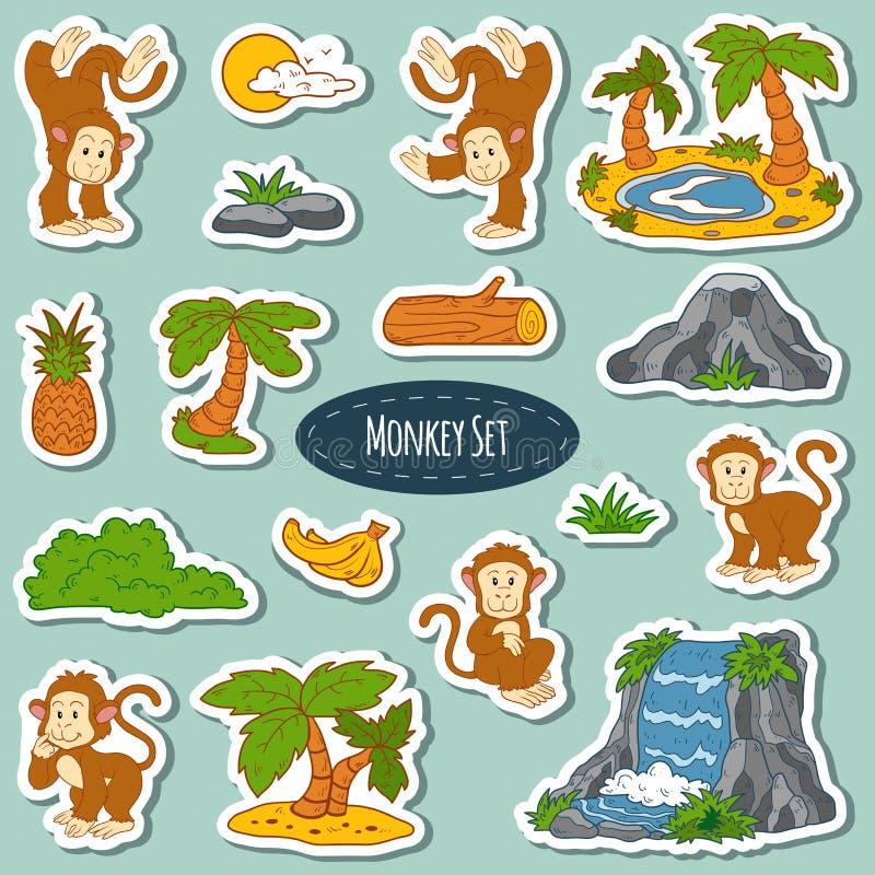 套各种各样的逗人喜爱的猴子,动物传染媒介贴纸  库存例证