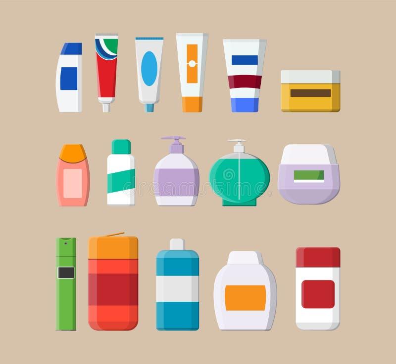 套各种各样的颜色化妆用品瓶 皇族释放例证