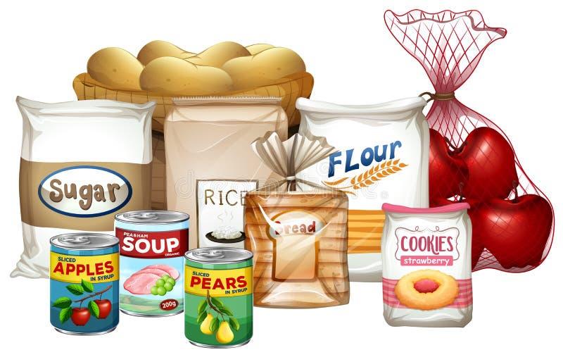 套各种各样的食物 库存例证