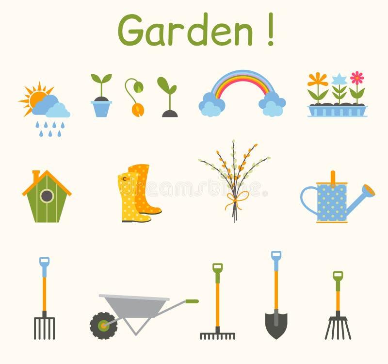 套各种各样的从事园艺的项目 庭院从事园艺的春天工具 向量例证