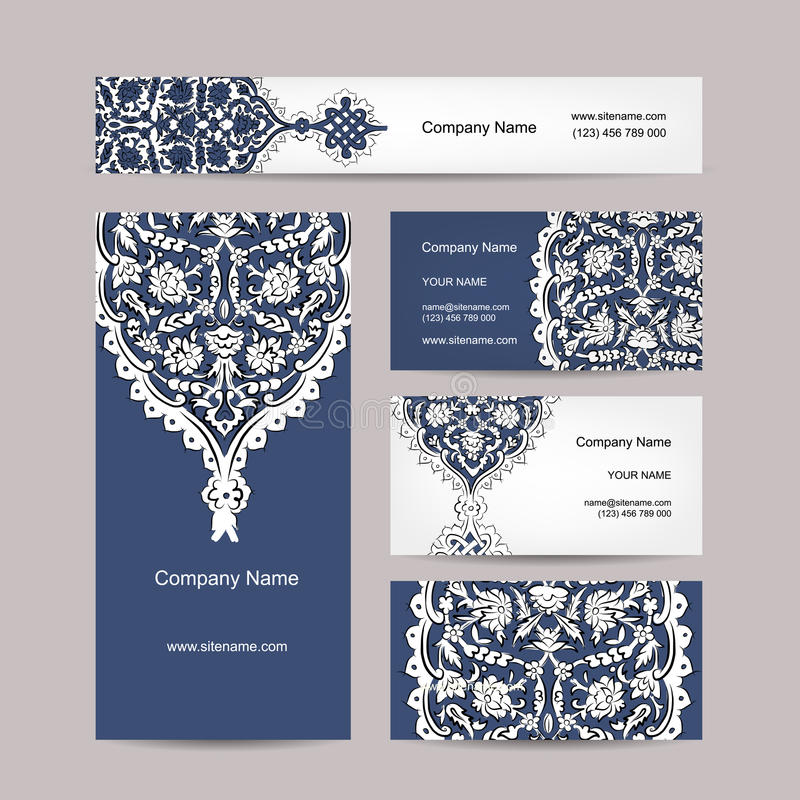 套名片设计,土耳其装饰品 皇族释放例证