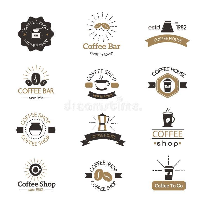 套咖啡店标志咖啡馆标志浓咖啡设计早晨饮料现代徽章传染媒介 库存例证