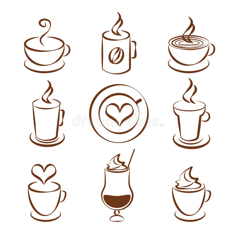 套咖啡杯传染媒介标志 库存例证