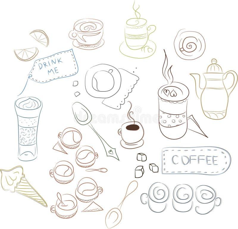 套咖啡盘,蛋糕,酥皮点心 免版税库存照片