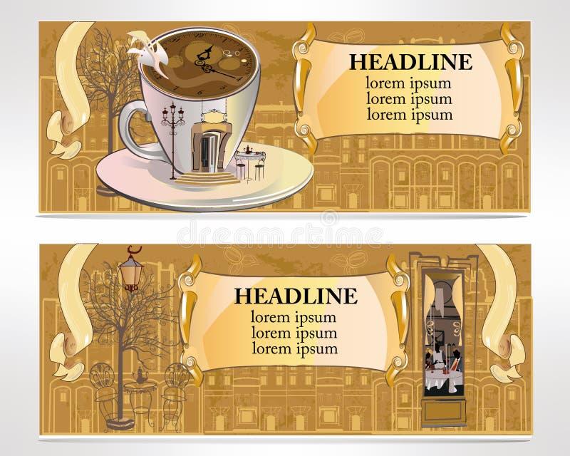 套咖啡馆横幅 库存例证