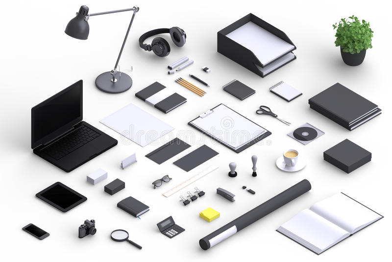 套品种空白为公司介绍组织的办公室对象 向量例证