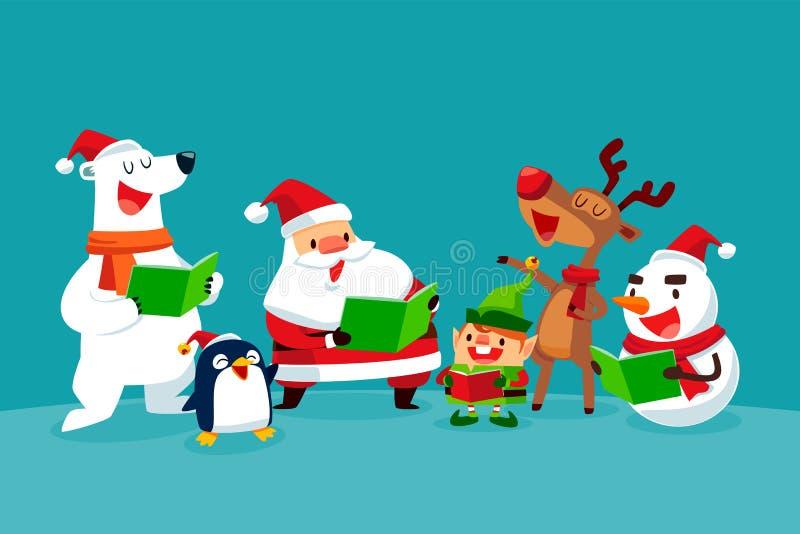 套唱圣诞节颂歌的圣诞节字符 向量例证