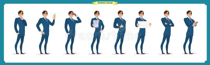 套商人字符摆在,姿态,行动,身体元素 查出在白色 向量例证