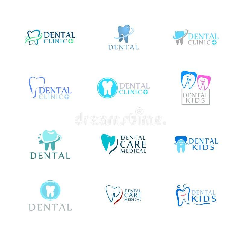 套商标牙齿保护诊所,孩子的牙科 摘要的牙 库存例证