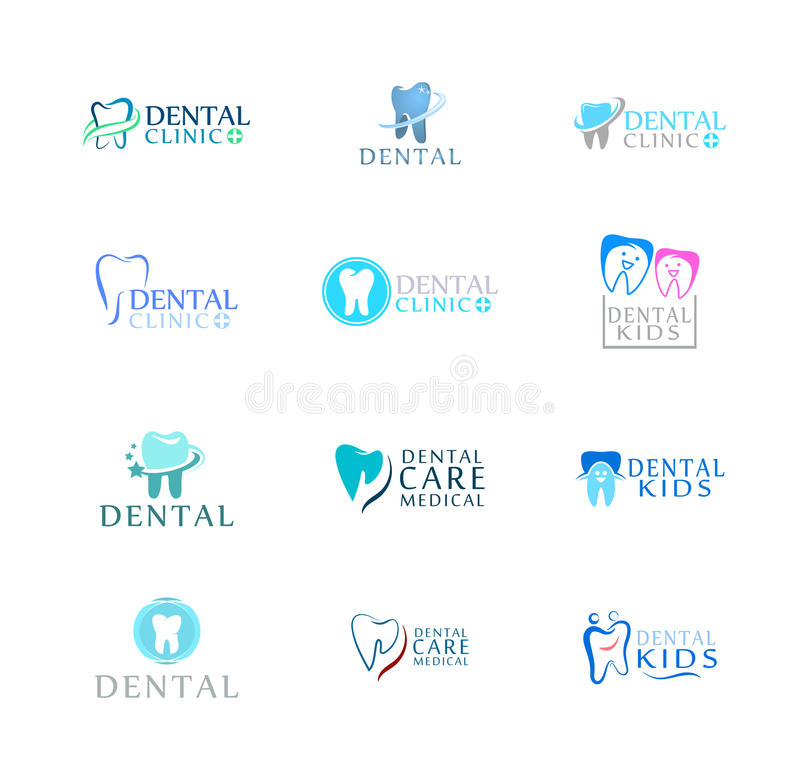 套商标牙齿保护诊所,孩子的牙科 牙抽象象 皇族释放例证