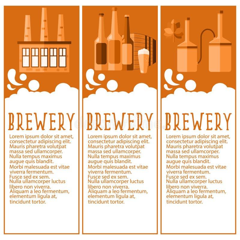 套啤酒厂产业啤酒厂的横幅反对 向量 皇族释放例证