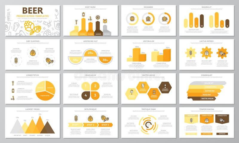 套啤酒和酒吧,多用途介绍模板的客栈元素滑与图表和图 小叶 皇族释放例证