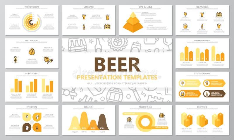 套啤酒和酒吧,多用途介绍模板的客栈元素滑与图表和图 小叶 向量例证