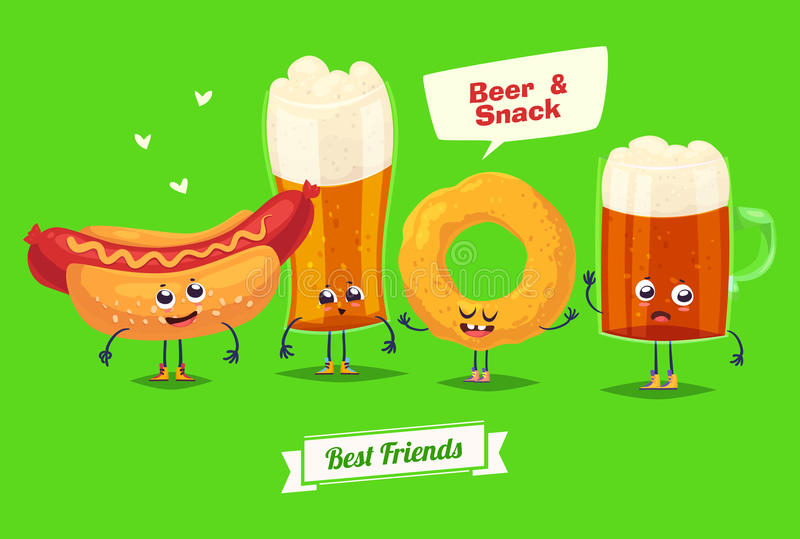 套啤酒字符 传染媒介逗人喜爱的动画片 库存例证
