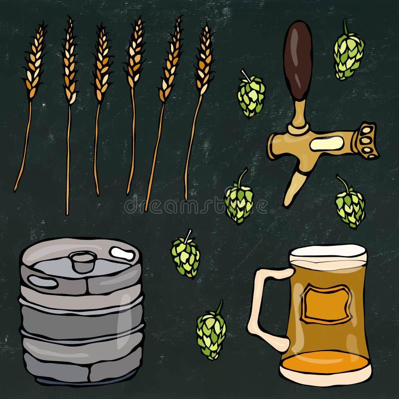 套啤酒对象:蛇麻草,麦芽,杯子,轻拍,小桶 在黑黑板背景 现实乱画动画片样式 皇族释放例证